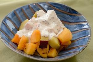 柿・カボチャ・サツマイモの秋色サラダ
